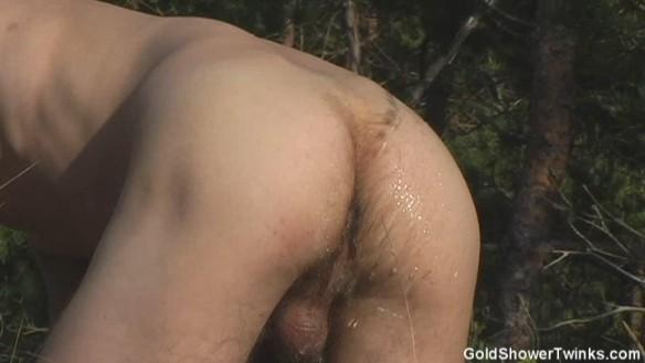 Gay men pissing in shower